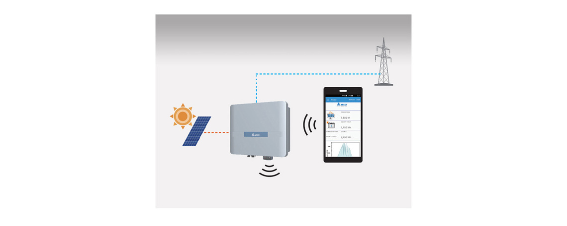 Integrated Wi-Fi communication sends data to MyDeltaSolar App running on a Smartphone