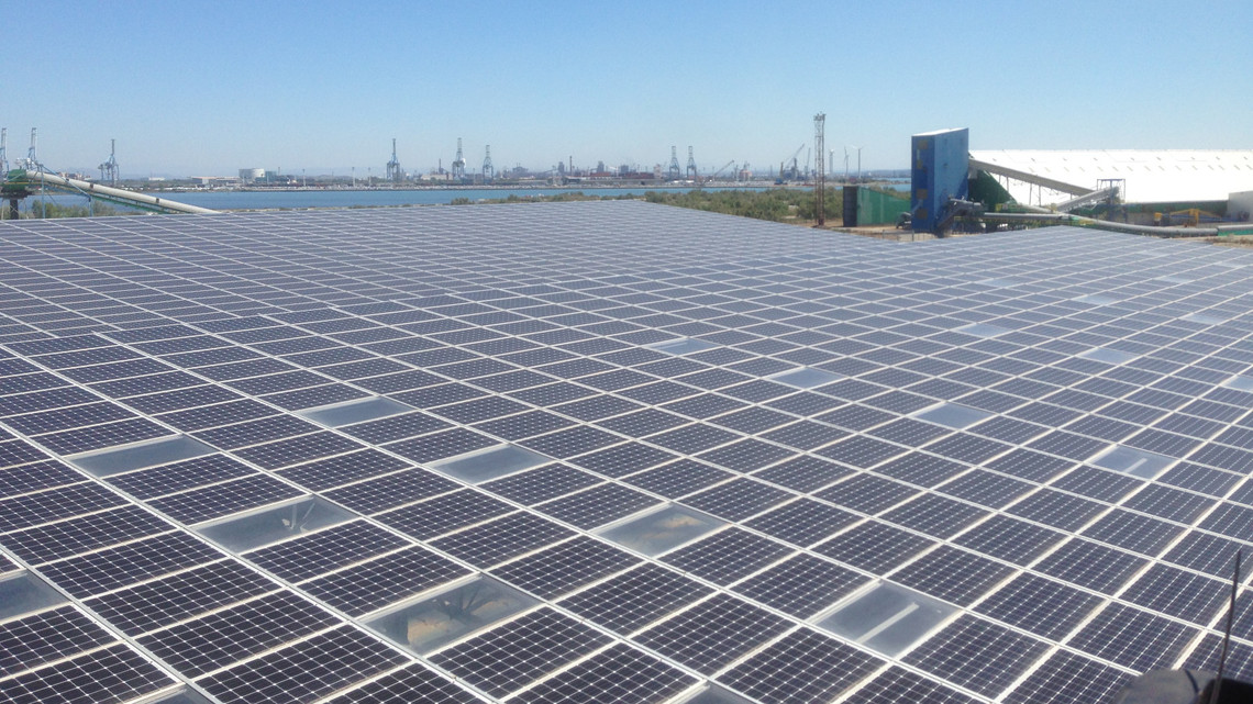 View of the 6.7MWp photovoltaic installation at Port-Saint-Louis-Du-Rhône