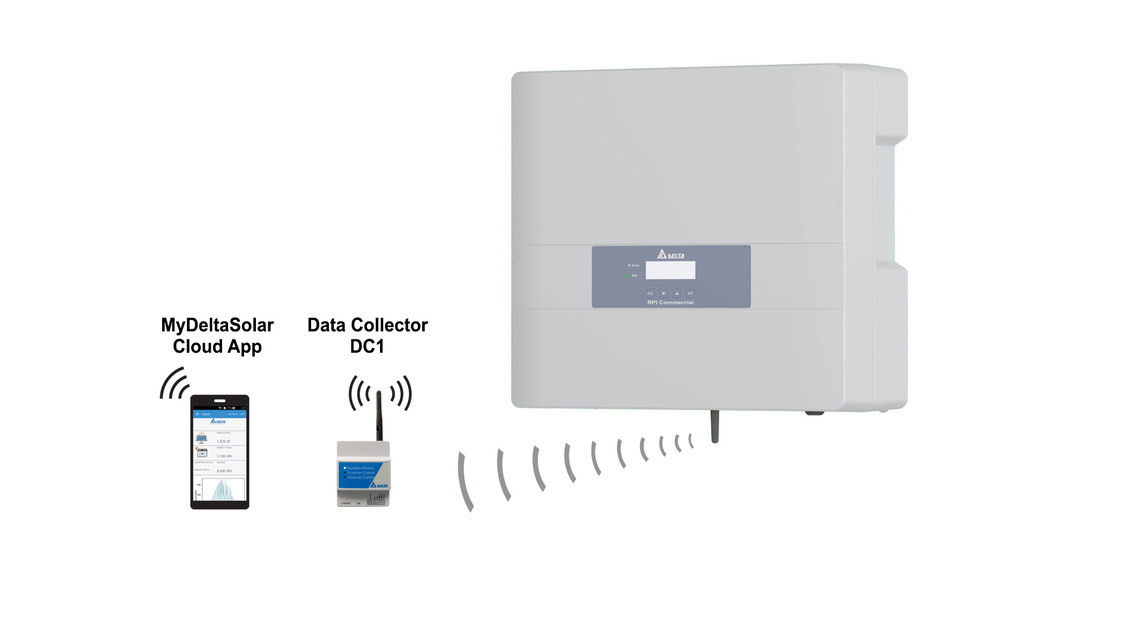 Integrierte drahtlose Kommunikation - kompatibel mit MyDeltaSolar Cloud App und DC1 Data Collector